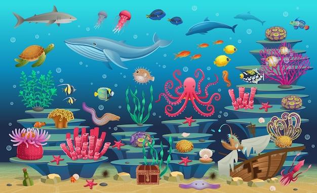 藻類の熱帯魚、クジラ、タコ、カメ、クラゲ、サメ、アンコウ、タツノオトシゴ、イカ、サンゴのサンゴ礁の大きなセット。イラスト。
