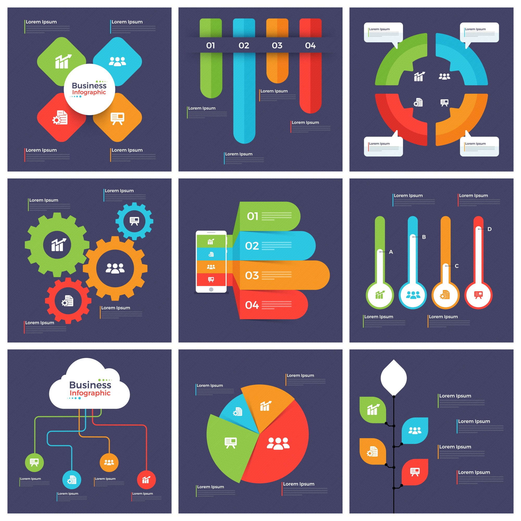 Big set of creative infographic elements for Business.