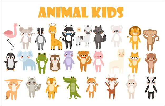 かわいい漫画の動物のイラストの大きなセット