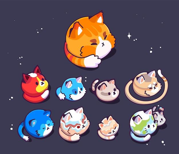 宇宙のかわいい猫の惑星の大きなセットベクトルイラストフラットデザイン子供のためのコンセプトプリント