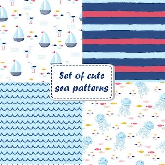 Большой набор милых морских элементов для открыток и наклеек. морские мультяшные узоры. на юбилей, день рождения, приглашения на вечеринку, скрапбукинг, футболку, открытки. векторная иллюстрация