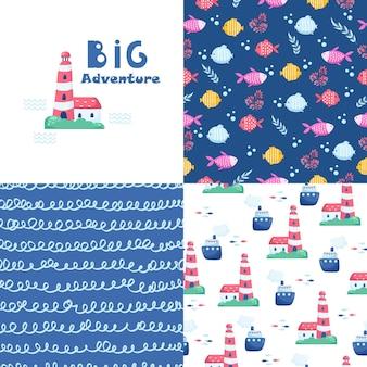 카드와 스티커를 위한 귀여운 해양 요소의 큰 집합입니다. 바다 만화 패턴입니다. 기념일, 생일, 파티 초대장, 스크랩북, 티셔츠, 카드용. 벡터 일러스트 레이 션