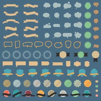 Большой набор элементов дизайна и речевых пузырей в ретро цветах