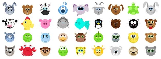 만화 스타일의 다른 동물의 큰 집합입니다. 가축, 야생. 농장과 동물원의 동물들. 만화 스타일의 벡터 일러스트 레이 션.