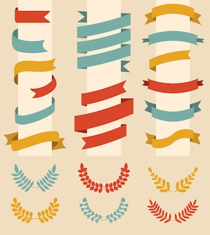モダンなフラットスタイルの異なる色の月桂樹の花輪とリボンの大きなセット。