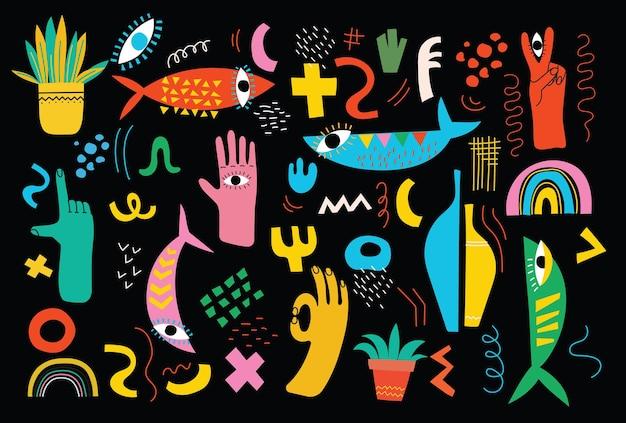 Большой набор иллюстраций разноцветных векторных в мультяшном плоском дизайне. рисованной абстрактные формы, забавные милые комические персонажи.