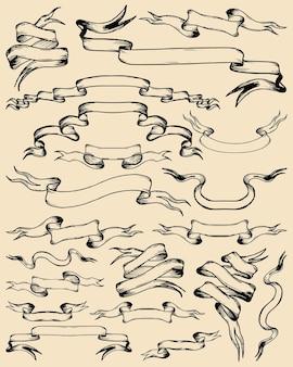 さまざまな手描きのリボンとバンドの大きなセット。