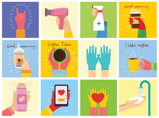 別の手のイラストの大きなセット。ヘアードライヤーとシャンプーを持っている手。手を洗う。マグカップとコーヒータイムのポスター。心を持って手。コーヒー、朝食のハンバーガー。