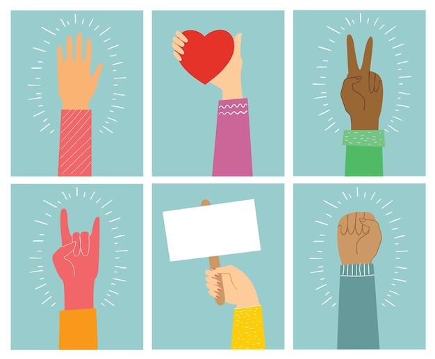 Большой набор различных иллюстраций рук, сильных вместе, многие руки вверх, руки, держащие сердца в ...
