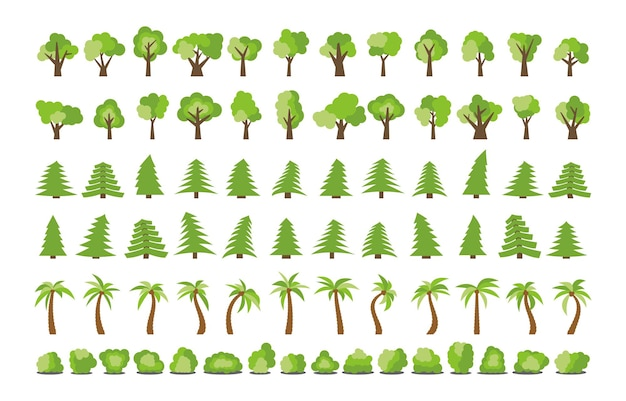 さまざまな木や茂みの大きなセット。ベクトルイラスト