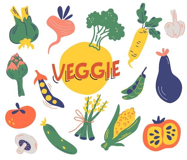 さまざまな野菜の大きなセット。緑の収穫。色付きの手描きの新鮮な野菜のコレクション。おいしいベジタリアン製品、健康的な健康食品。農業市場。ベクトルイラストフラットスタイル