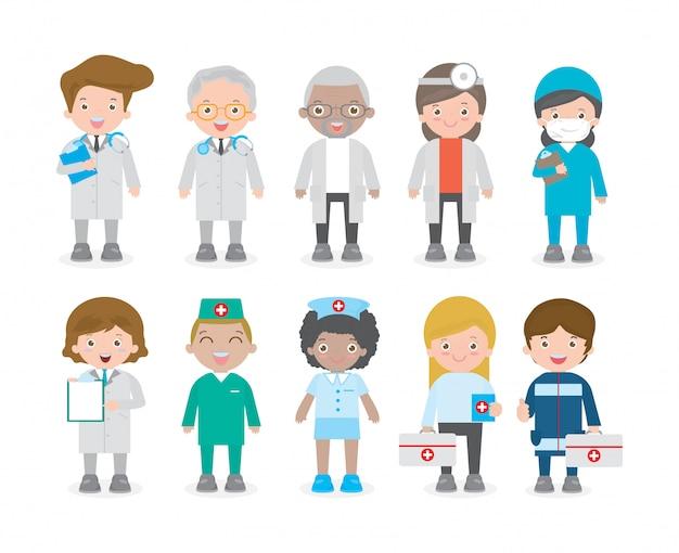 마스크를 착용하는 의사 팀의 큰 세트입니다. 의료진 의사와 간호사, 위생병 그룹. 코로나 바이러스 (2019-ncov) 또는 covid-19, 건강한 라이프 스타일 개념 흰색 배경에 고립