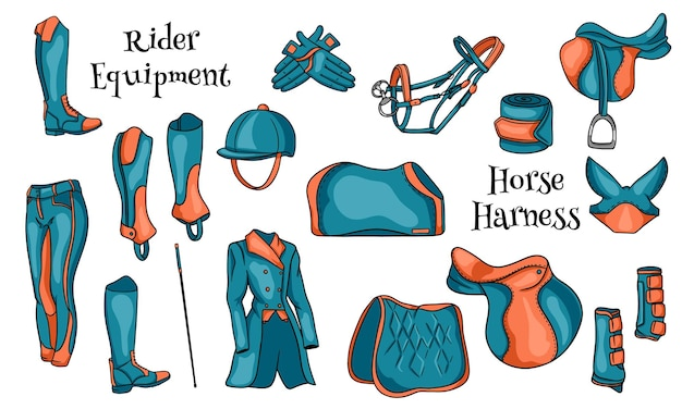 만화에서 말 삽화를 위한 기수와 탄약을 위한 큰 장비 세트. 안장, 담요, 채찍, 의류, 안장 천, 보호. 디자인 및 장식용 컬렉션입니다.