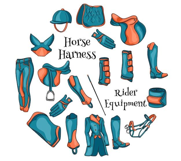 Большой набор снаряжения для всадника и амуниции для иллюстрации лошади в карикатуре. седло, одеяло, хлыст, одежда, шорно-седельная ткань, защита. коллекция для дизайна и декора.