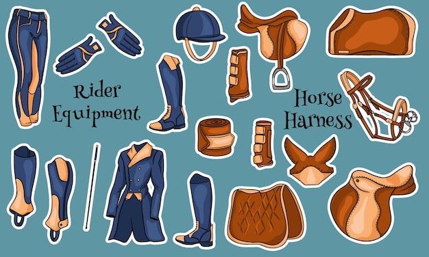 漫画の馬のイラストのためのライダーと弾薬のための機器の大きなセット。サドル、毛布、ムチ、衣類、サドルクロス、保護。デザインと装飾のためのコレクション。
