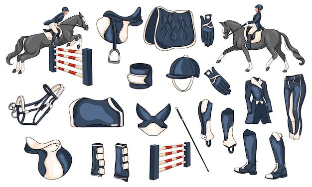 Большой набор снаряжения для всадника и амуниции для всадника на лошади иллюстрации в мультяшном стиле. седло, одеяло, хлыст, одежда, шорная ткань, защита.
