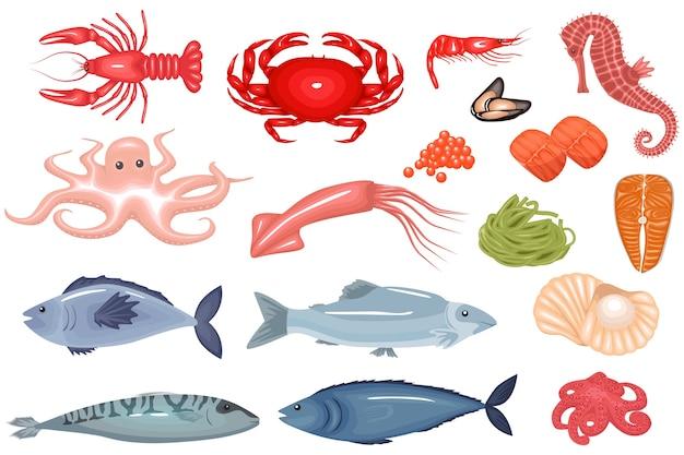 Большой набор плоских иконок из морепродуктов