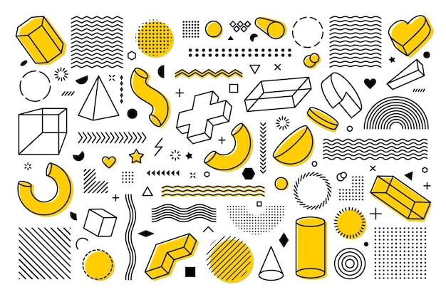 Большой набор геометрических фигур. модные элементы в стиле мемфис.