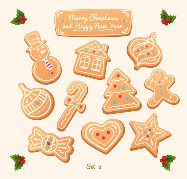 Большой набор пряников на белом фоне. иллюстрация. с новым годом и рождеством.
