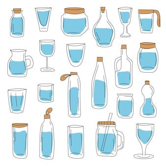 ガラス容器と水筒の大きなセット。手描きスタイル