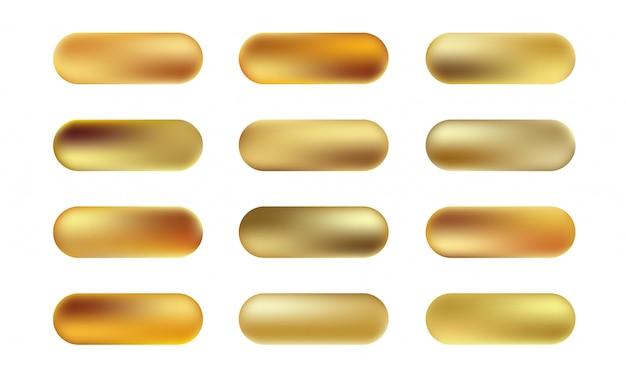 金箔のテクスチャボタンの大きなセット。黄金のエレガントで光沢のあるメタリックグラデーションコレクション