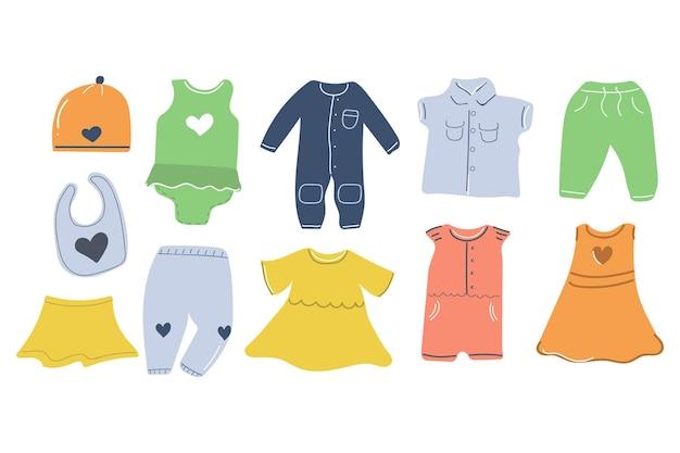 Большой набор рисованной детской одежды дизайн детской комнаты flat