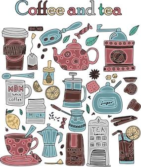 Большой набор рисованной кофе и чая каракулей