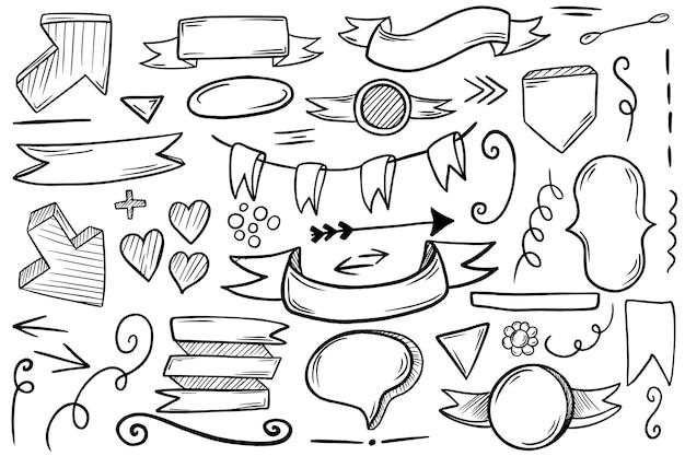 흰색 바탕에 손으로 그린 요소의 큰 집합입니다. 당신의 디자인을 위해.