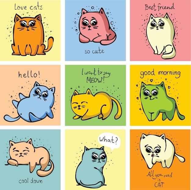 인사말 카드 디자인, 티셔츠 인쇄, 영감 포스터를 위한 손으로 그린 벡터 귀여운 재미있는 고양이 세트.