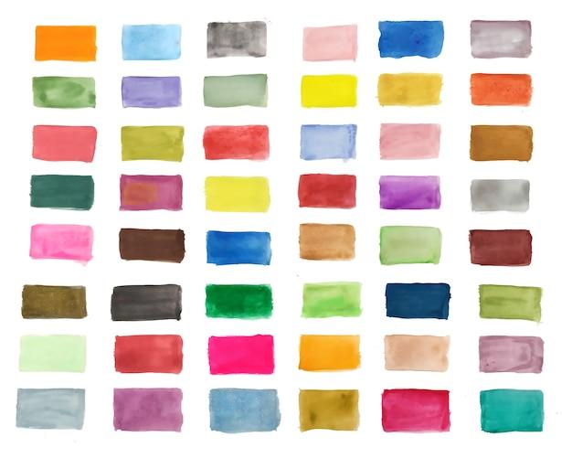 손의 큰 세트는 다양한 색상의 수채화 텍스처를 그린