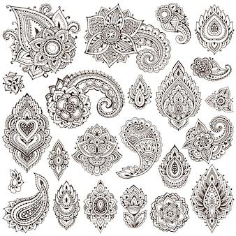 伝統的なアジアの装飾品に基づいたヘナの花の要素の大きなセット。ペイズリー一時的な刺青タトゥーコレクション