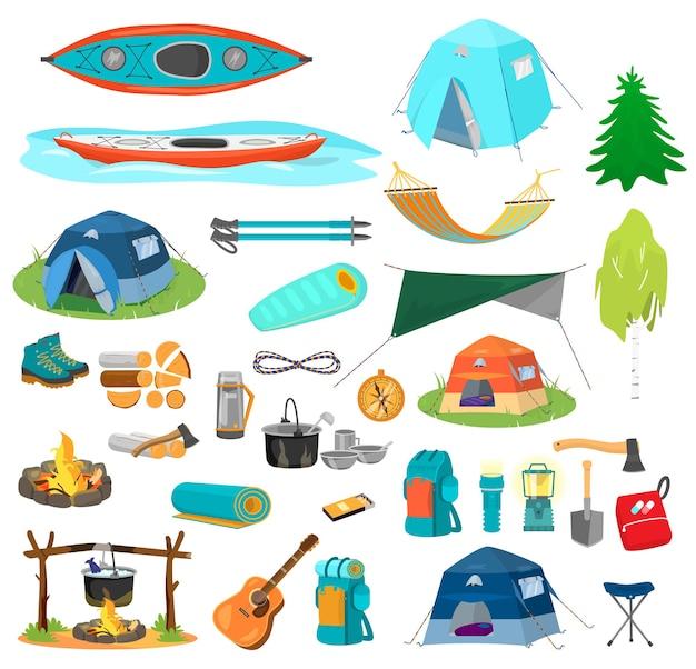 ハイキング用品の大きなセット