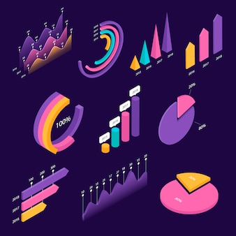 インフォグラフィック等尺性要素の大きなセット。カラフルなグラフと図のテンプレート、情報データの統計と分析。プレゼンテーション、レポートデザイン、ランディングページのテンプレート。