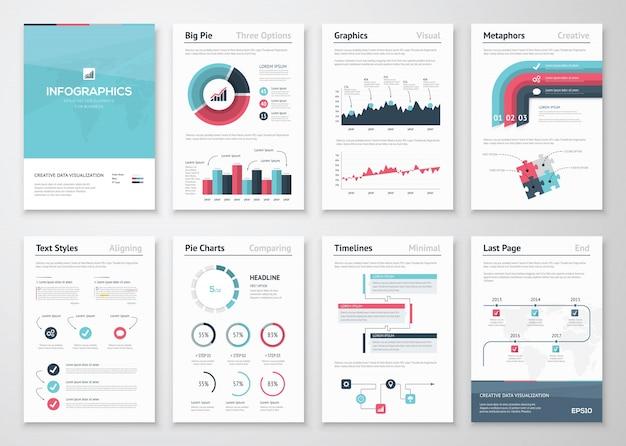 Infographicベクター要素とビジネスパンフレットの大きなセット