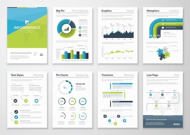 大規模なインフォグラフィックスベクトル要素とビジネスパンフレット