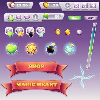 컴퓨터 게임 및 웹 디자인을위한 큰 인터페이스 요소 세트