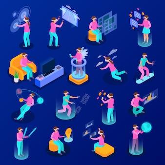 Большой набор изометрических иконок с людьми, использующими различные устройства дополненной реальности, изолированных на синем фоне 3d иллюстрации