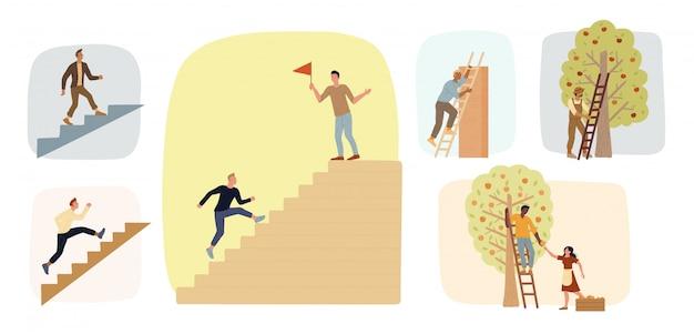階段を上る男性の大きなセット。はしごを使って果物を収穫する農家。野心の達成。