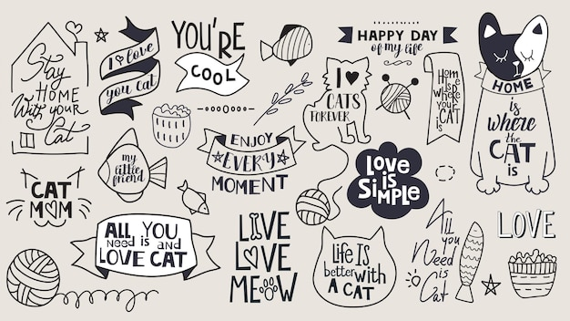 동기 부여 문구, 따옴표 및 스티커의 큰 세트. 고양이 테마