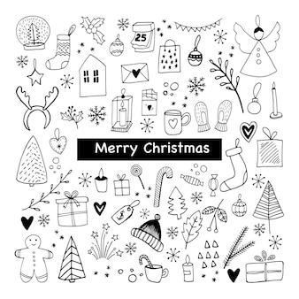 新年とクリスマスのアイコンの大きなセットかわいい手描きベクトルイラスト冬の要素