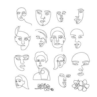 女性の顔を描く一本線の大きなセット。現代のミニマリストスタイルの女の子の連続線の肖像画。