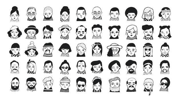 소셜 미디어, 웹사이트를 위한 많은 사람들 아바타. 낙서 초상화 유행 소녀와 남자. 트렌디한 손으로 그린 아이콘 모음입니다. 흑인과 백인 벡터 일러스트 레이 션.