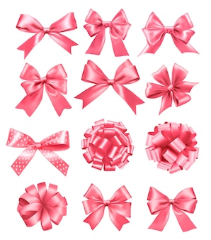 핑크 선물 활과 리본의 큰 세트