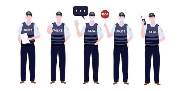 Большой набор полицейского персонажа с различными видами деятельности