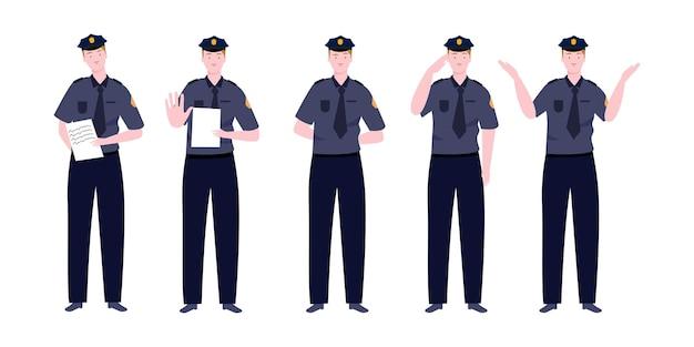 다양한 활동을 가진 큰 경찰 캐릭터 세트