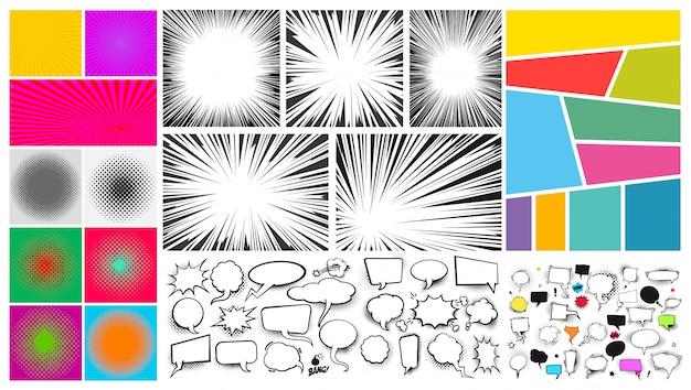 Большой набор поп-арт комиксов речи пузырь песком, радиальные линии для комиксов