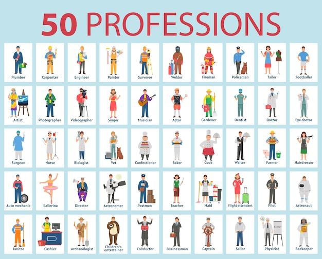 Большой набор профессий в мультяшном стиле для детей. день труда