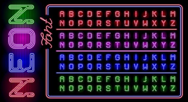 異なるネオン色の輝きを持つ現実的なネオンアルファベットの大きなセット
