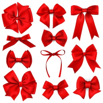 Big set of realistic red gift bows and ribbons