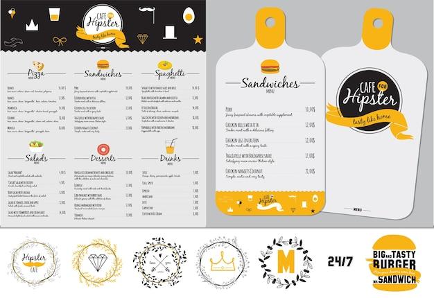 Большой набор дизайна меню ресторана и кафе, дизайн шаблона в формате. кулинарные рамки, этикетки и графические элементы в хипстерском стиле. иллюстрация в винтажном стиле. быстрое питание.